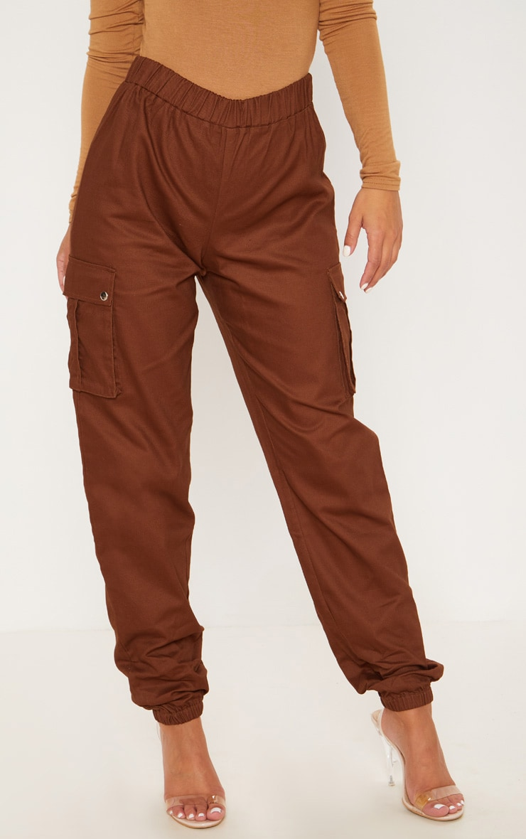 Petite Chocolate Brown Pocket Detail Cargo Trousers 2