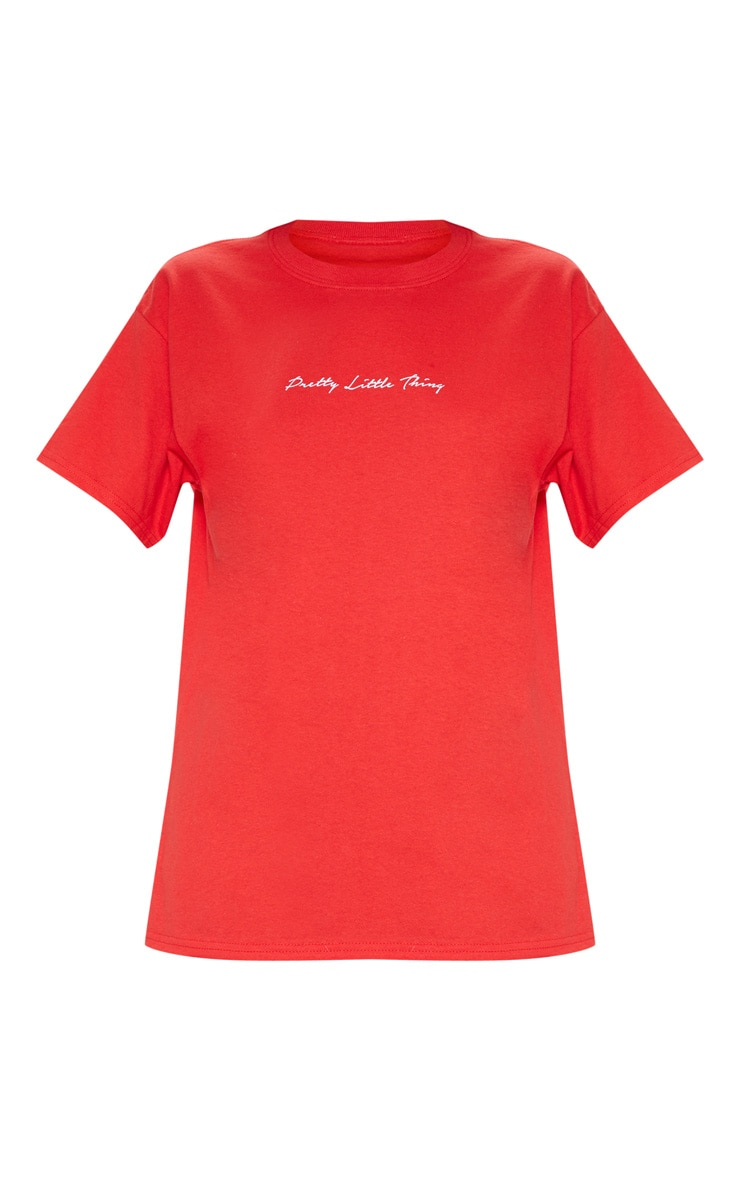 PRETTYLITTLETHING Red Slogan Oversized T Shirt 6