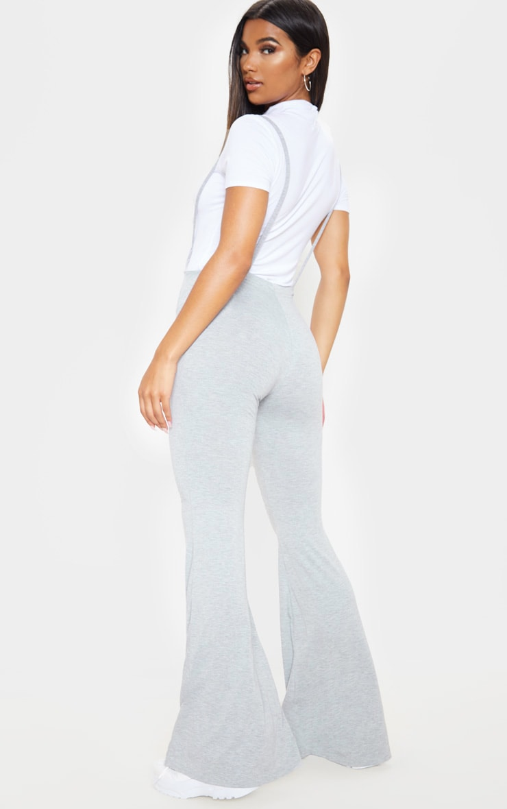 Grey Dungaree Style Flare Leg Pants 2