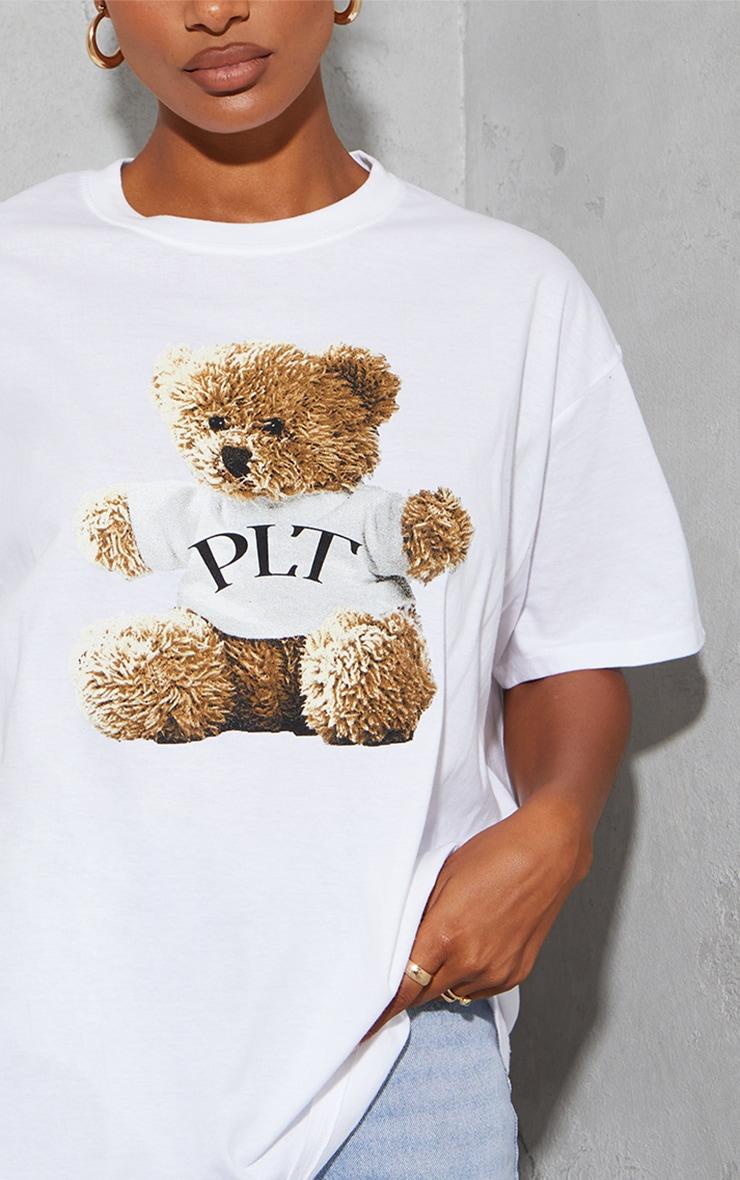 PRETTYLITTLETHING Cream Teddy Print T Shirt 4