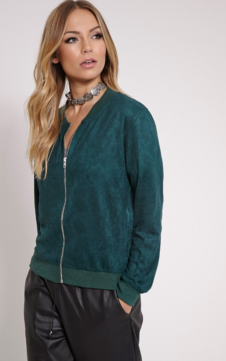 Riva Bottle Green Faux Suede Bomber Jacket 4