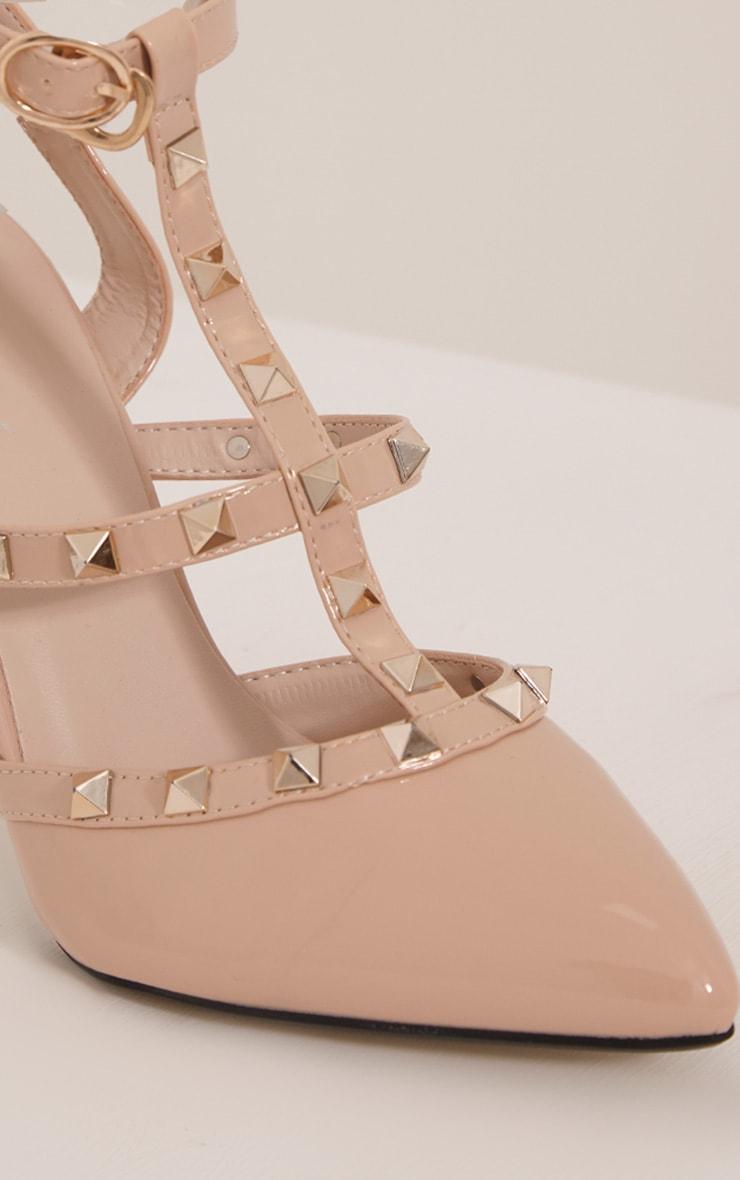 Eloisa Nude Patent Pointed Studded Heels 5