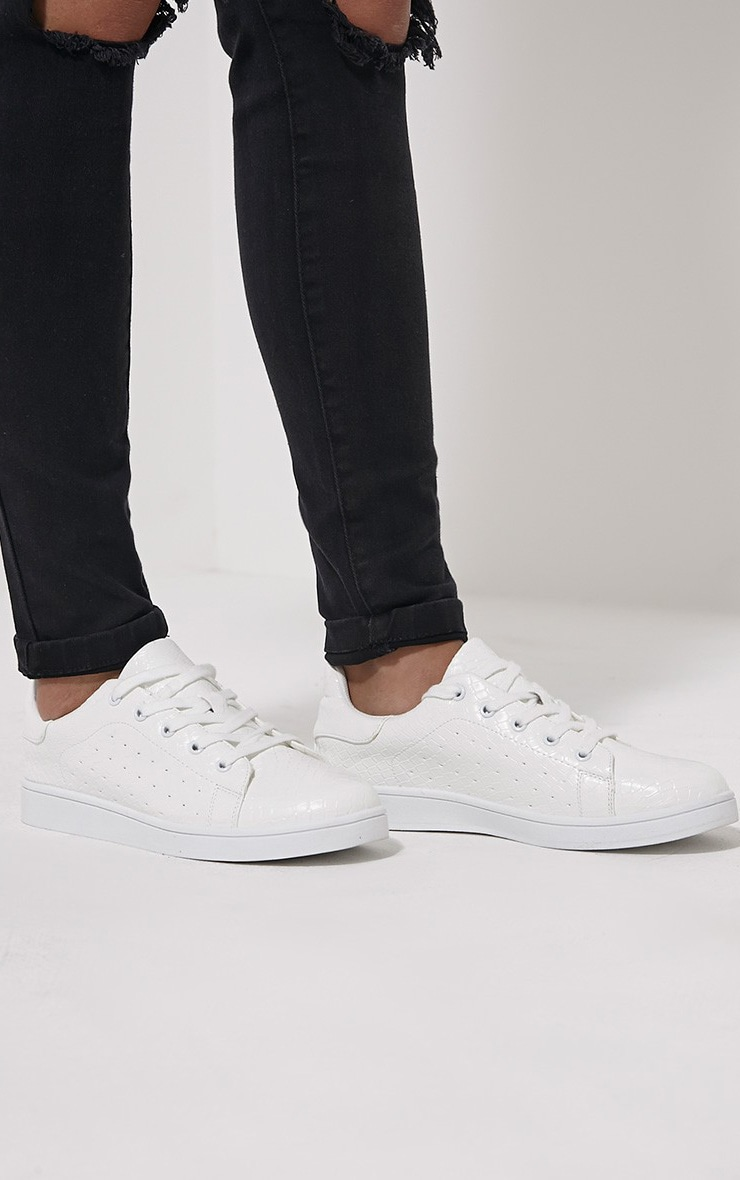 Zina White Lace Up Trainers 1