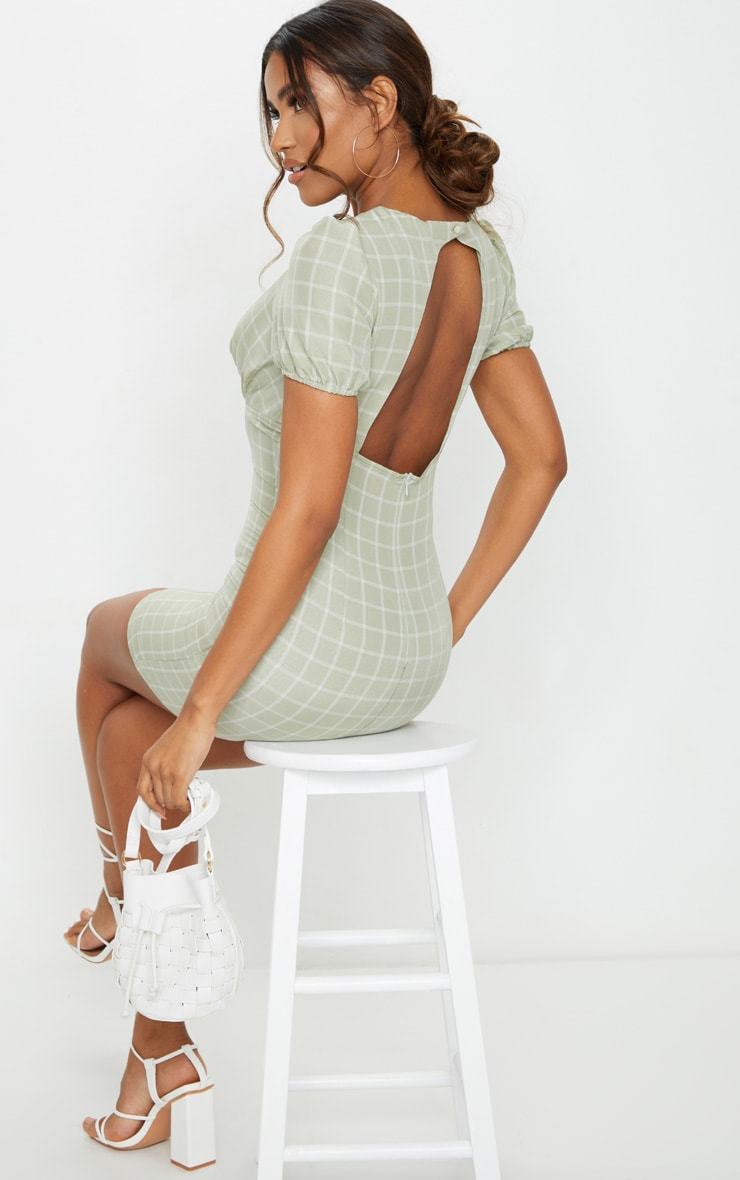 Sage Green Check Print Cut Out Back Detail Bodycon Dress 3