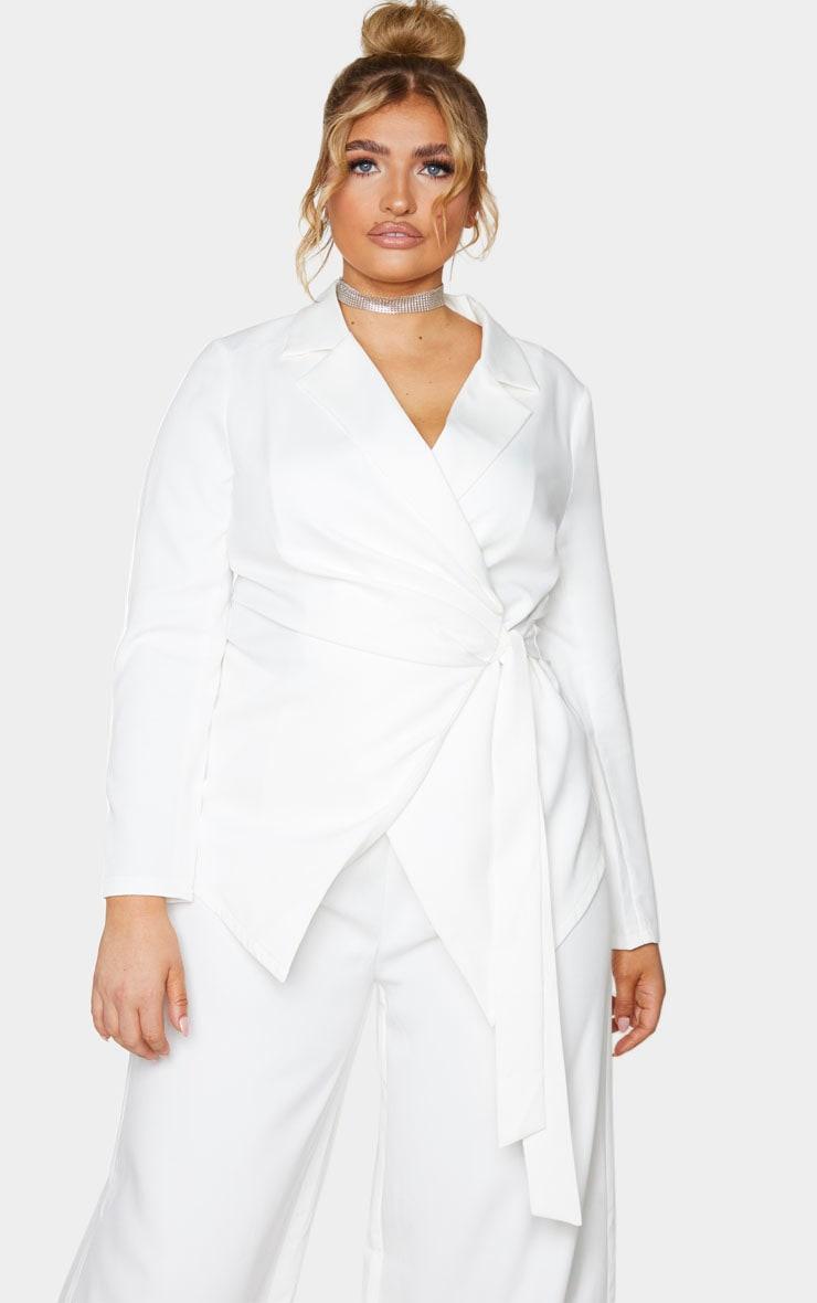 Plus White Draped Front Tie Detail Blazer 1