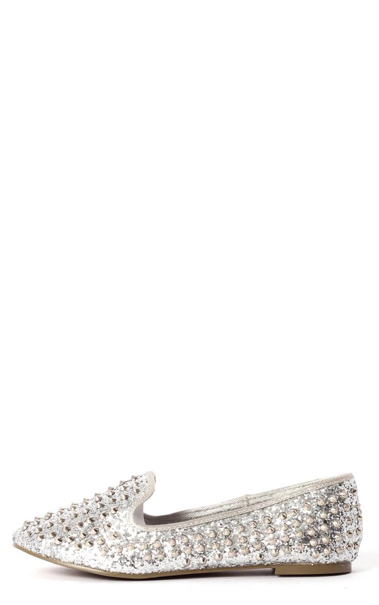 Aleta Silver Glitter Stud Slipper 1