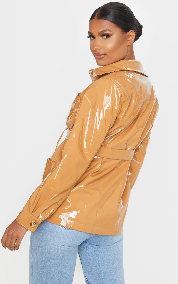 Tan Vinyl Belted Oversized Jacket 2