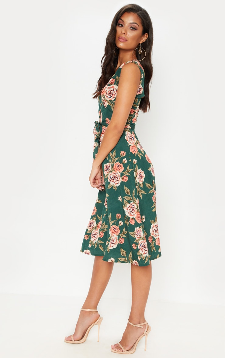 Emerald Green Floral Button Detail Midi Skater Dress 4