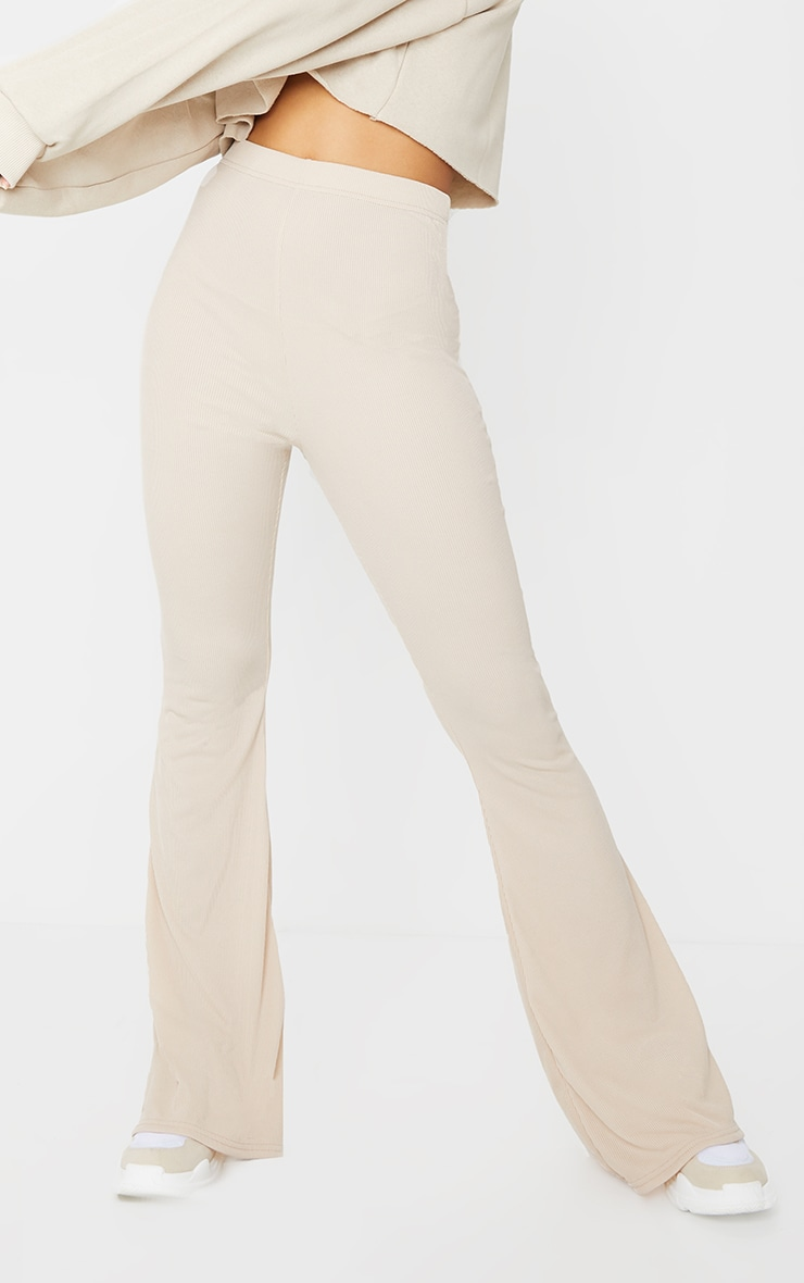 Stone Ribbed Flared Pants 2