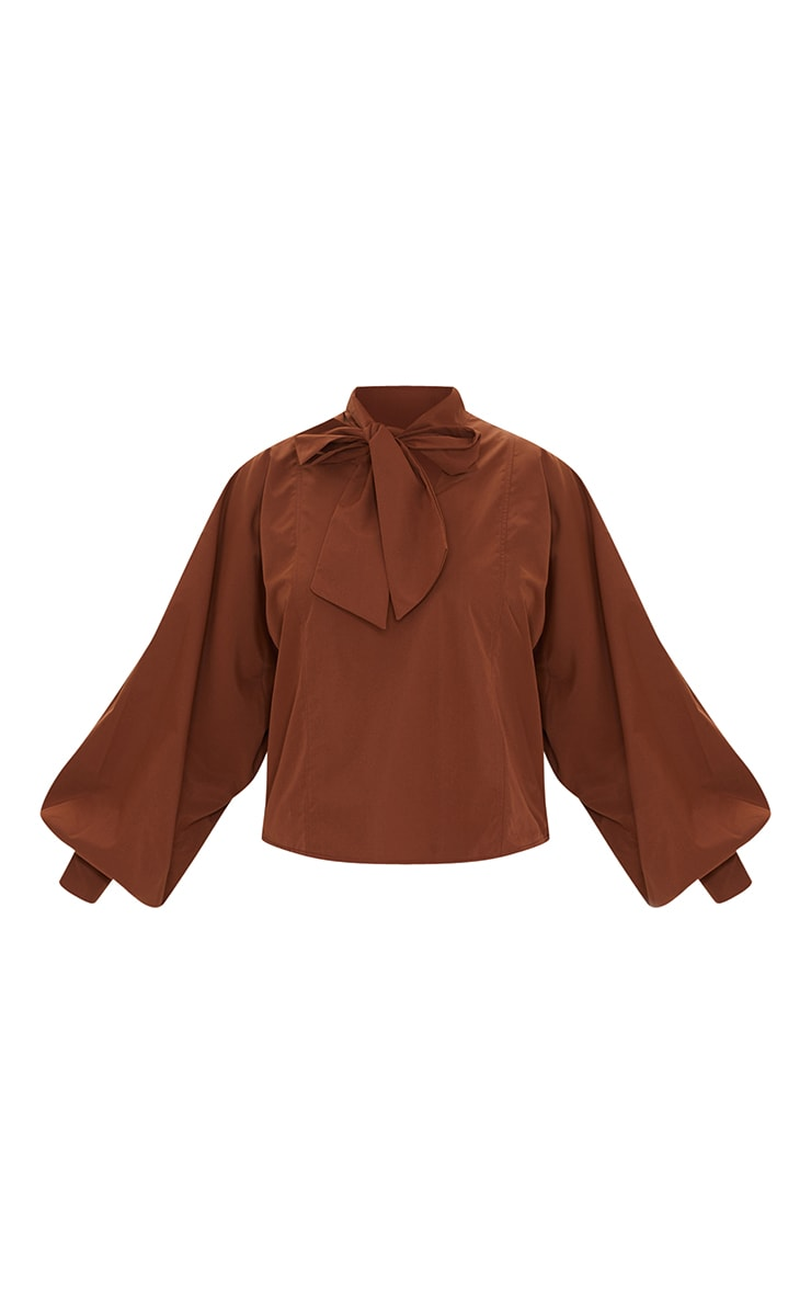 Chocolate Woven Plunge Pussy Bow Blouse 5