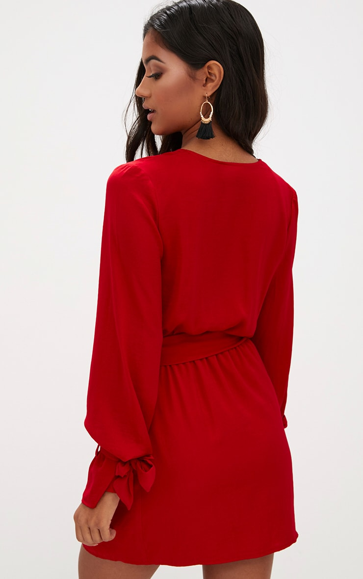 Red Satin Wrap Cuff Detail Shift Dress 2