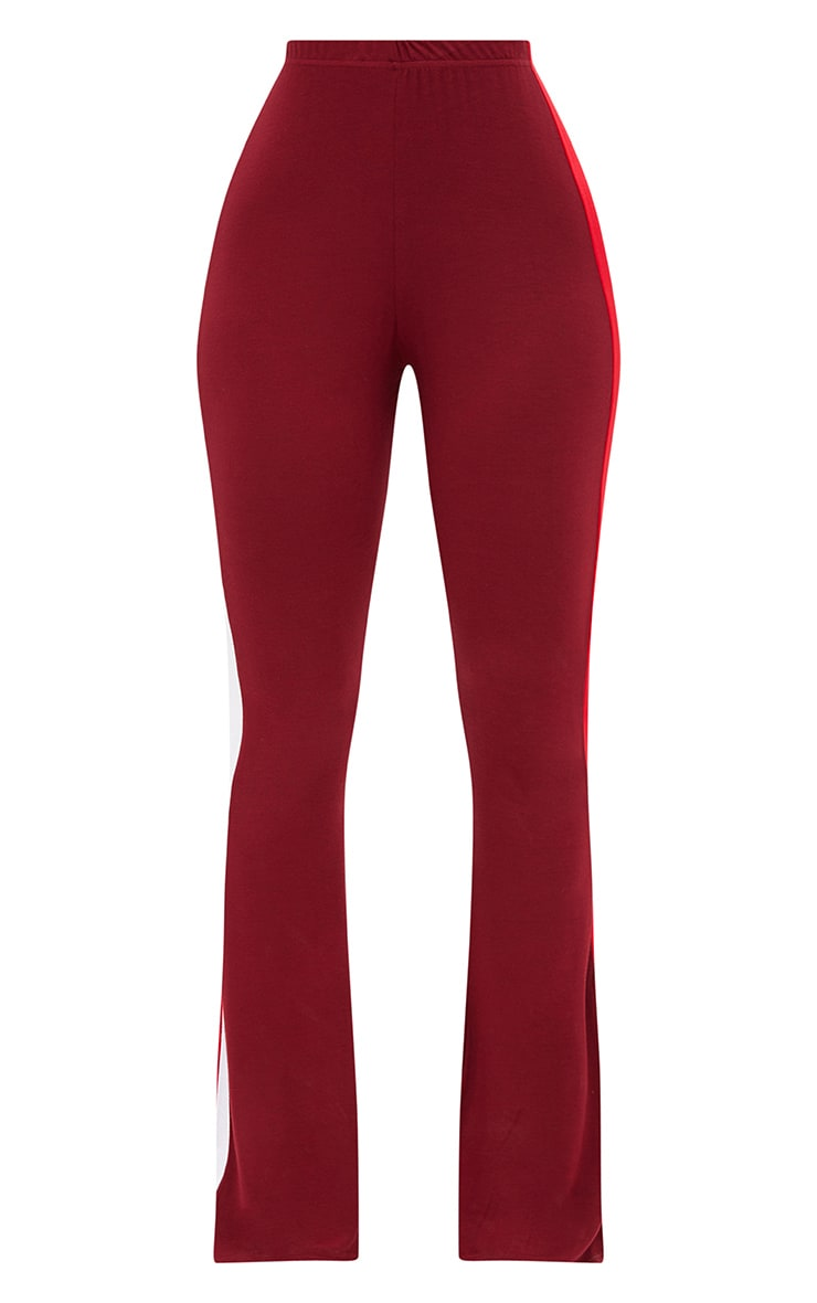 Shape Burgundy/Red Stripe Side Flared Trousers 3