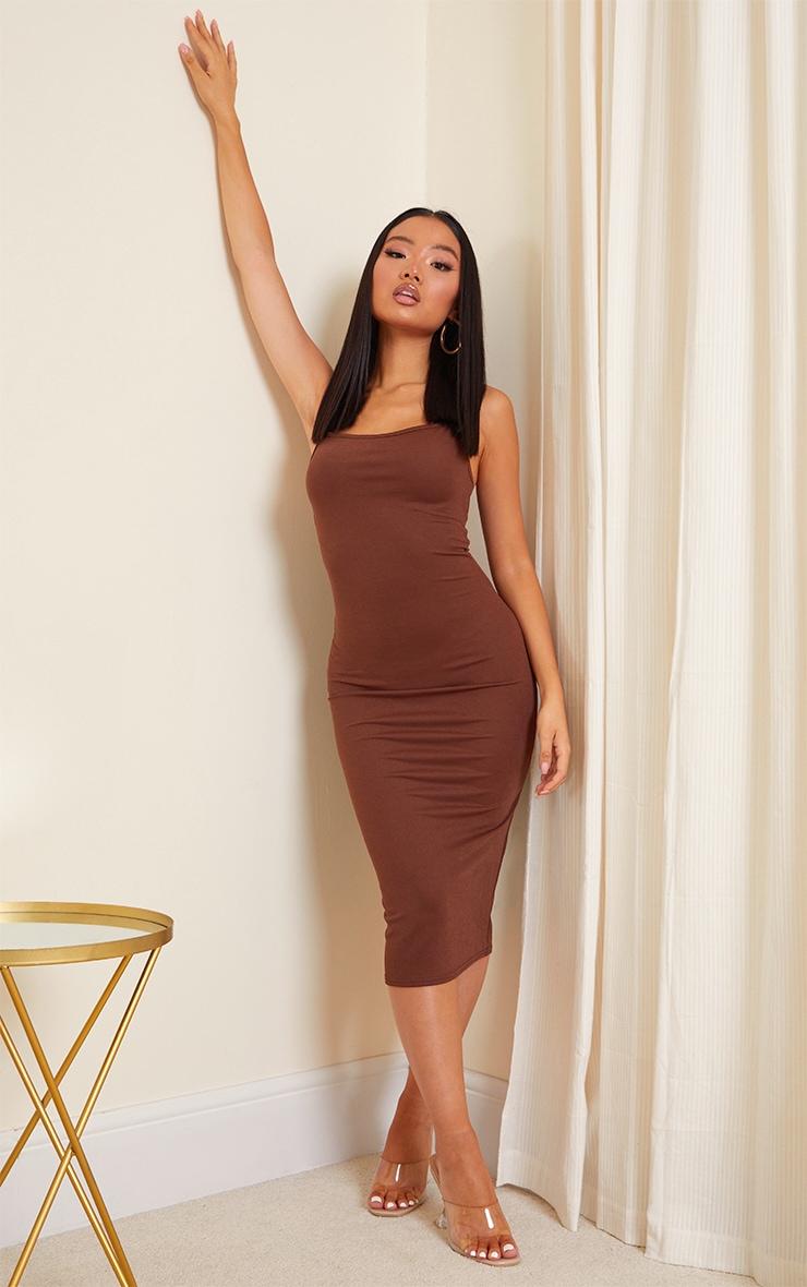 Petite Chocolate Strappy Midi Dress 1
