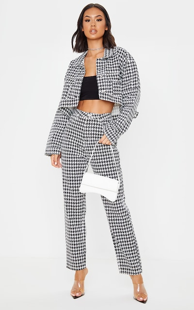 Monochrome Houndstooth Straight Leg Jeans