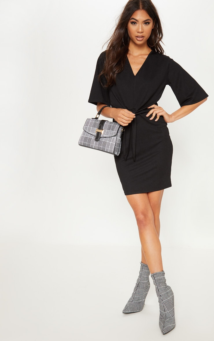 Black V Neck Tie Front Shift Dress