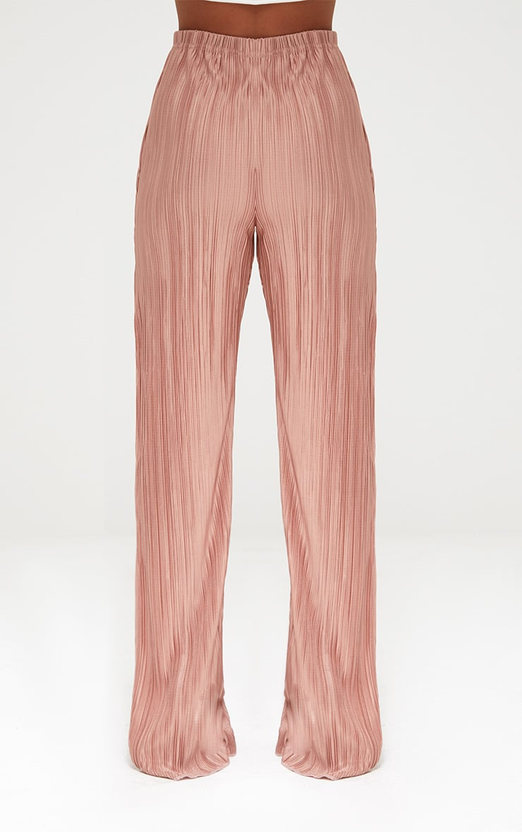 Petite Pink Pleated Split Wide Leg Trousers 2