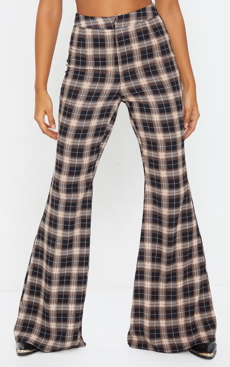 Black Check Print Tailored Extreme Flared Pants 2
