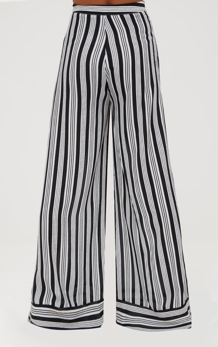 Black Contrast Stripe Mix Wide Leg Pants 4