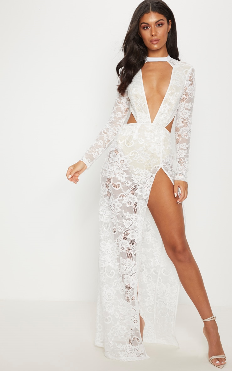 White Lace Plunge Backless Maxi Dress 1