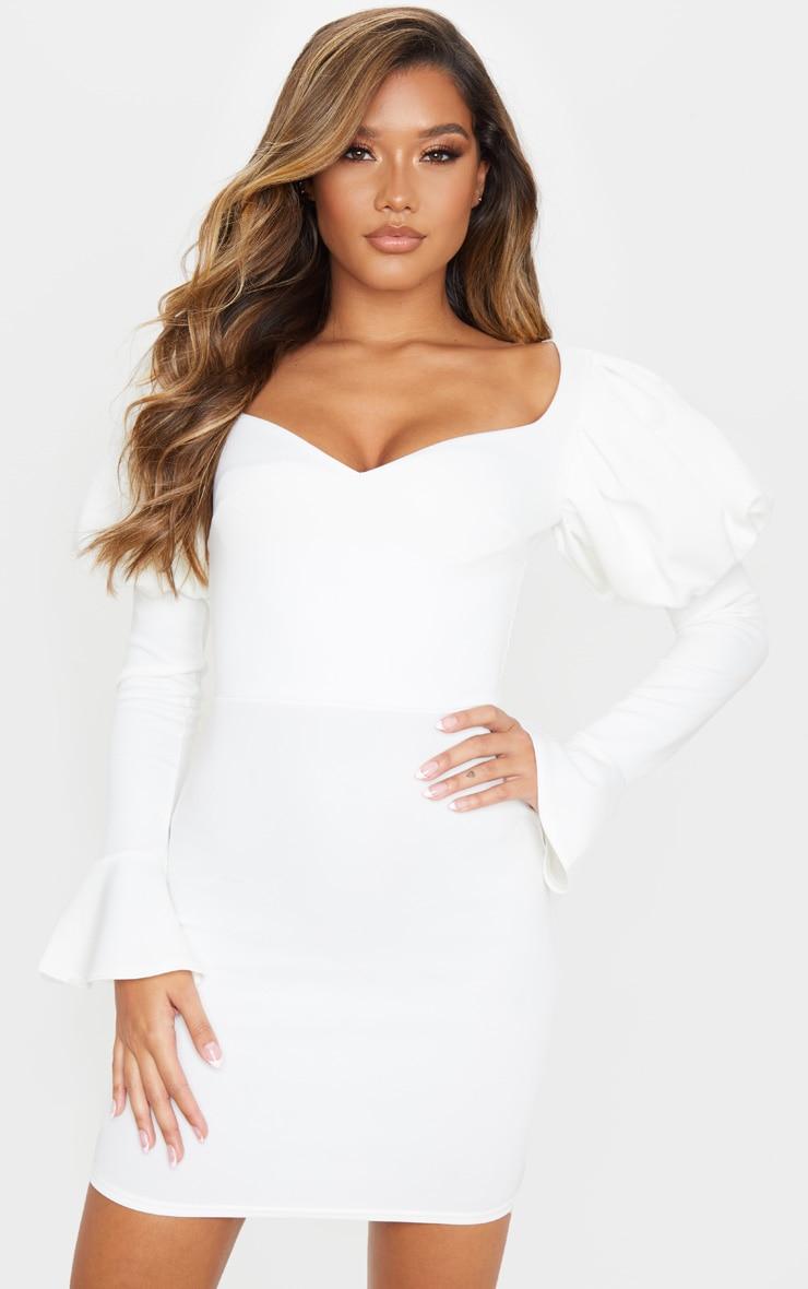 White Scuba Puff Sleeve Bodycon Dress 1