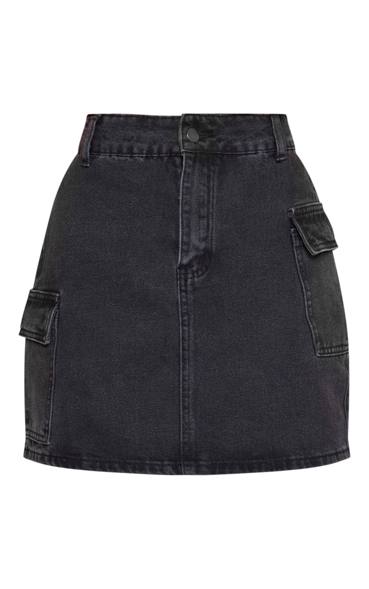Washed Black Denim Mini Skirt  3
