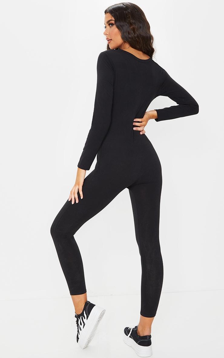 RECYCLED Black V Neck Long Sleeve Jumpsuit 2