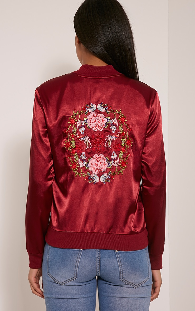 Tonia Red Satin Oriental Embroidered Bomber Jacket 2