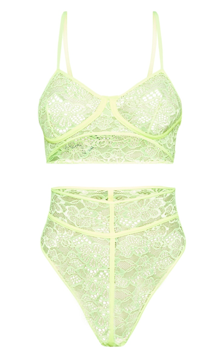 Neon Lime Extreme Cut Out Lace Body 3