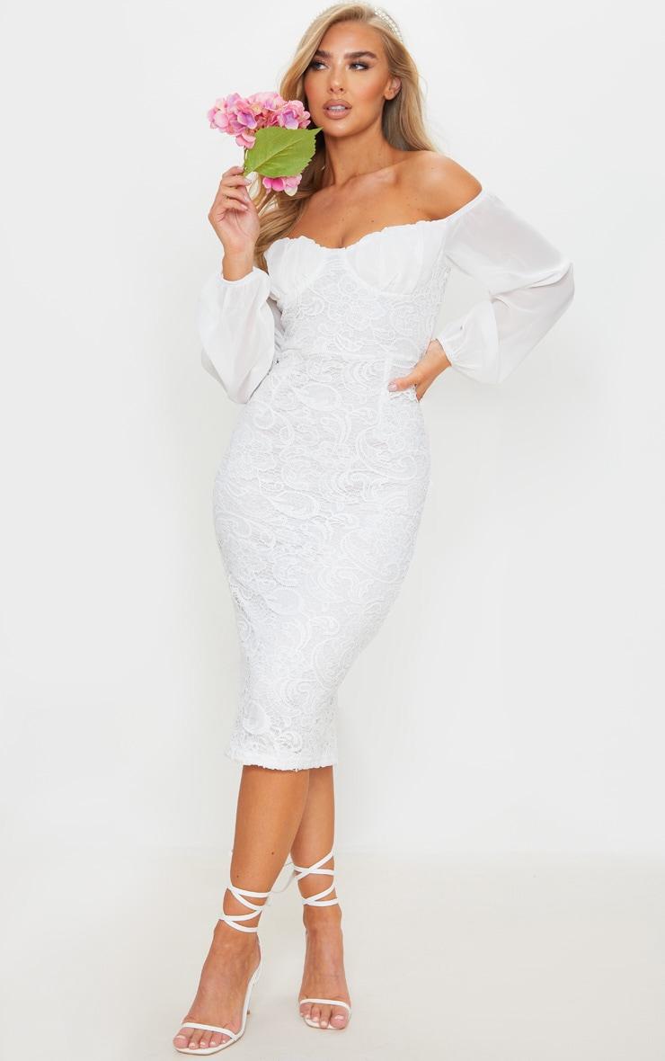 White Chiffon Cup Insert Lace Midi Dress 1