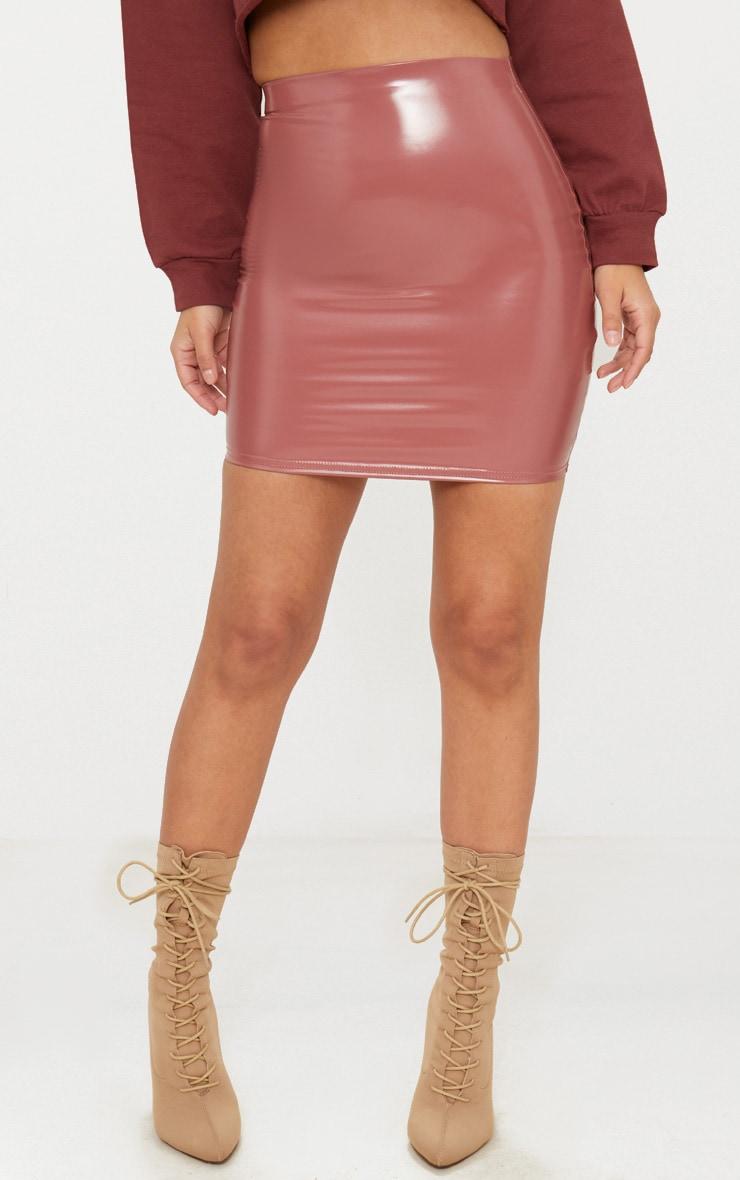 Petite Rose Vinyl Mini Skirt 2