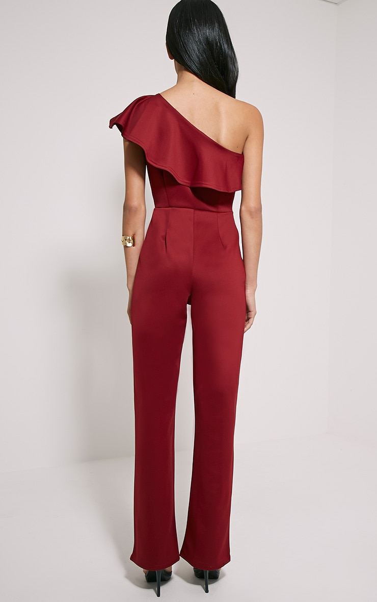 Kerry Wine One Shoulder Frill Jumpsuit 2