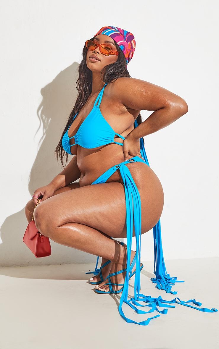 Plus Blue High Leg Tassel Side Bikini Bottoms 6