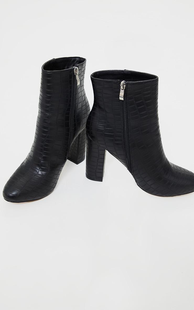 Black Faux Croc Ankle Boot 4
