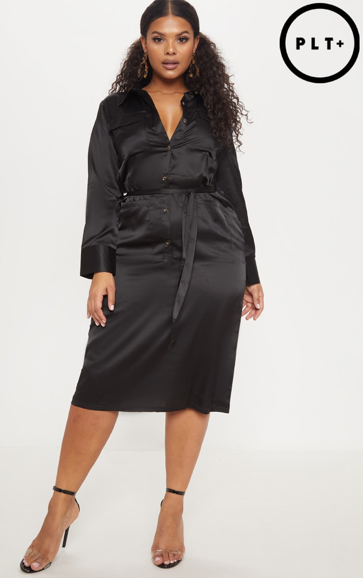 Plus Black Satin Pocket Detail Midi Dress by Prettylittlething