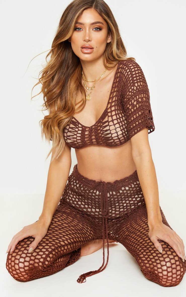 Chocolate Crochet Crop Top 4