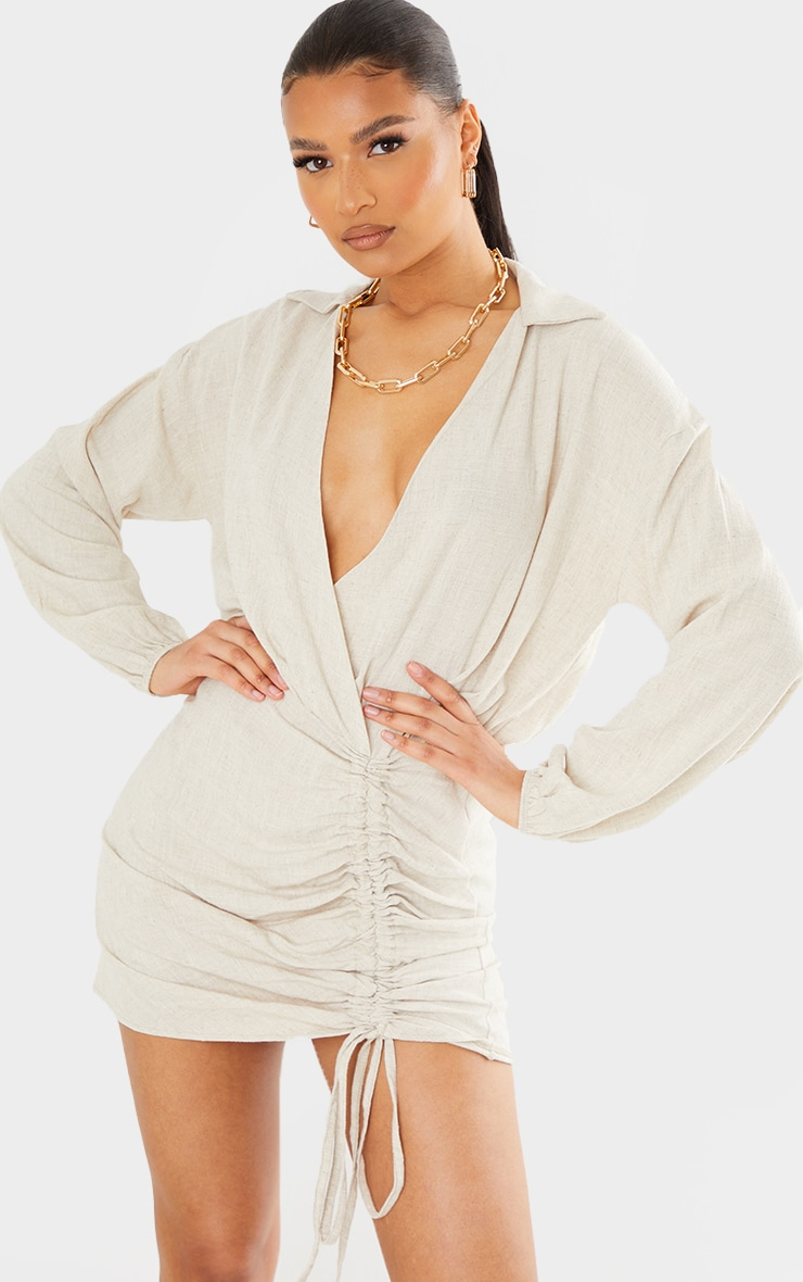 Stone Linen Long Sleeve Plunge Ruched Shirt Dress 1