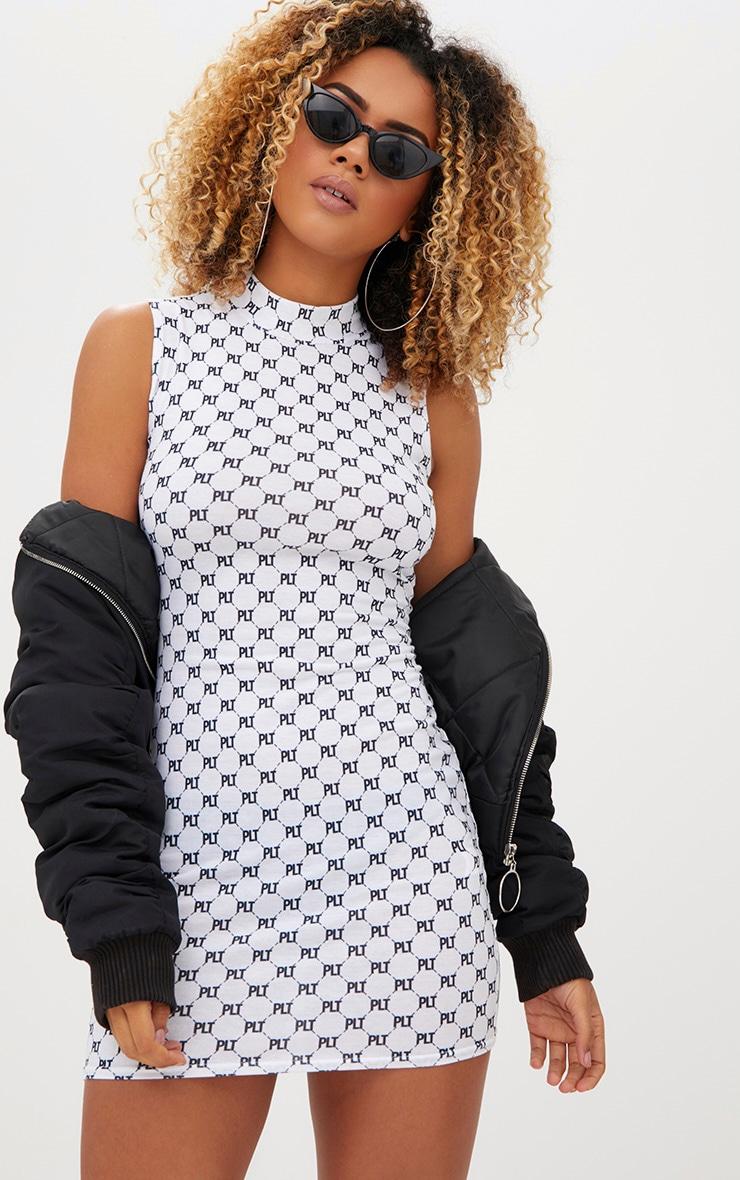 PRETTYLITTLETHING Print White Jersey Bodycon Dress 4