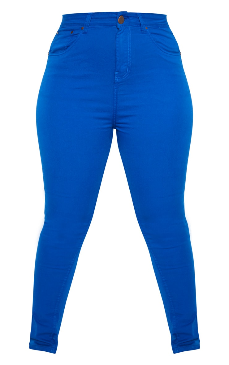Plus Bright Blue High Waisted Skinny Jean 3