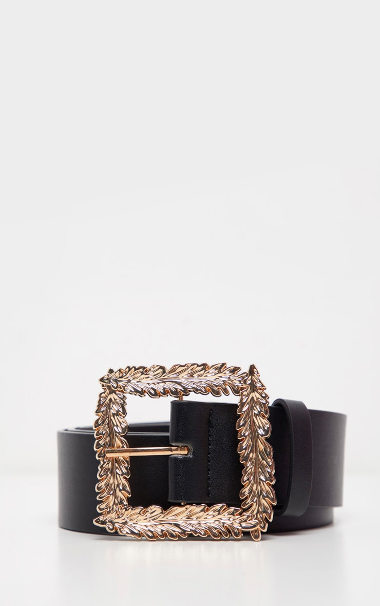 Black Wide Waist Belt With Gold Leaf Effect Buckle 1