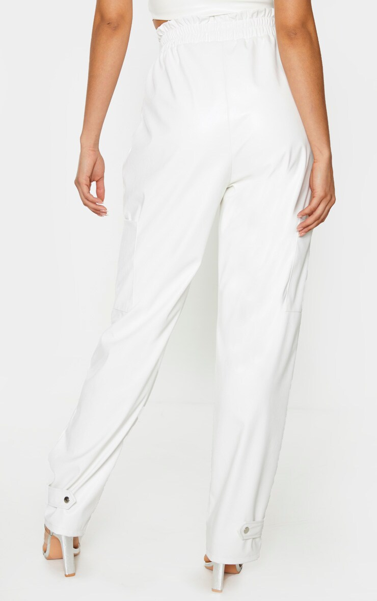 Tall Cream Ruched Buckle PU Hem Pants 3