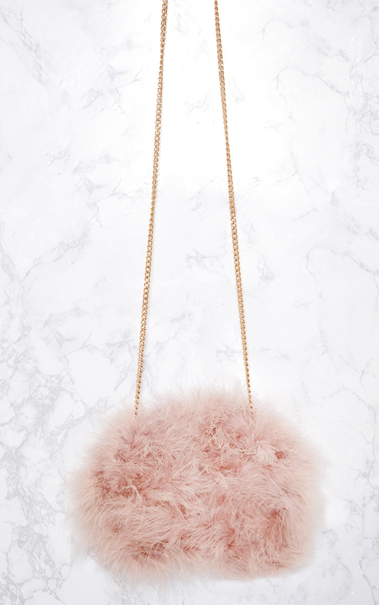 Nude Marabou Feather Clutch Bag 4