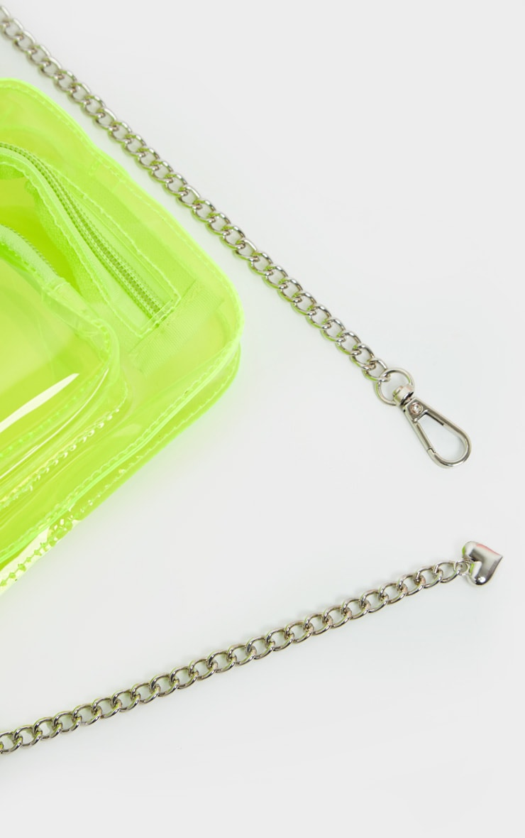 Neon Lime Plastic Multi Pocket Bum Bag 4