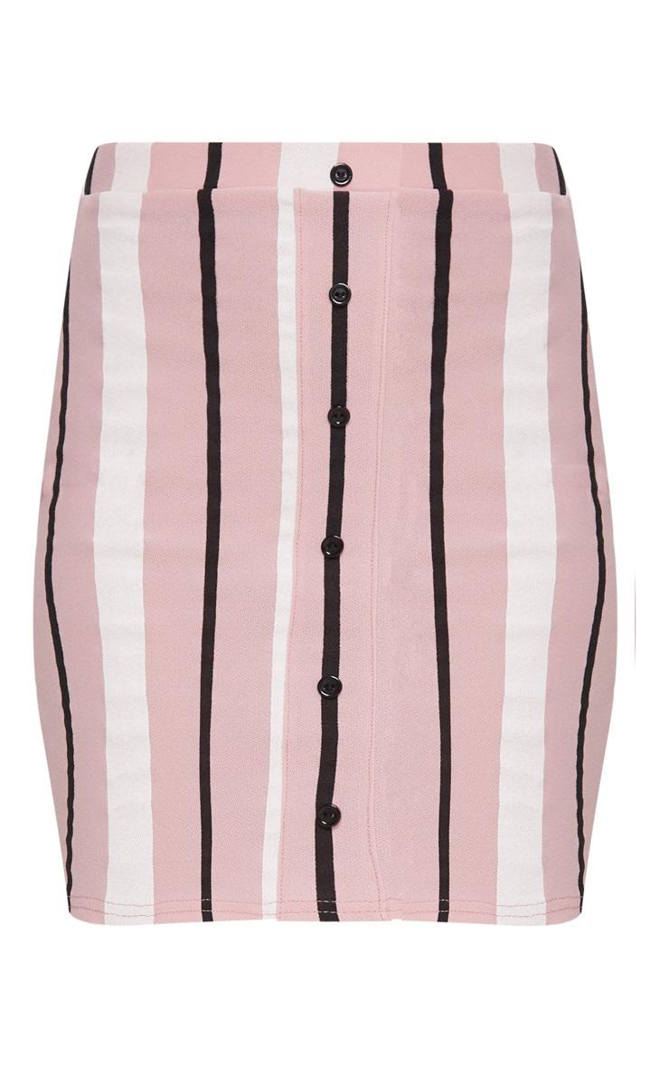 Baby Pink Stripe Crepe Button Detail Mini Skirt 3