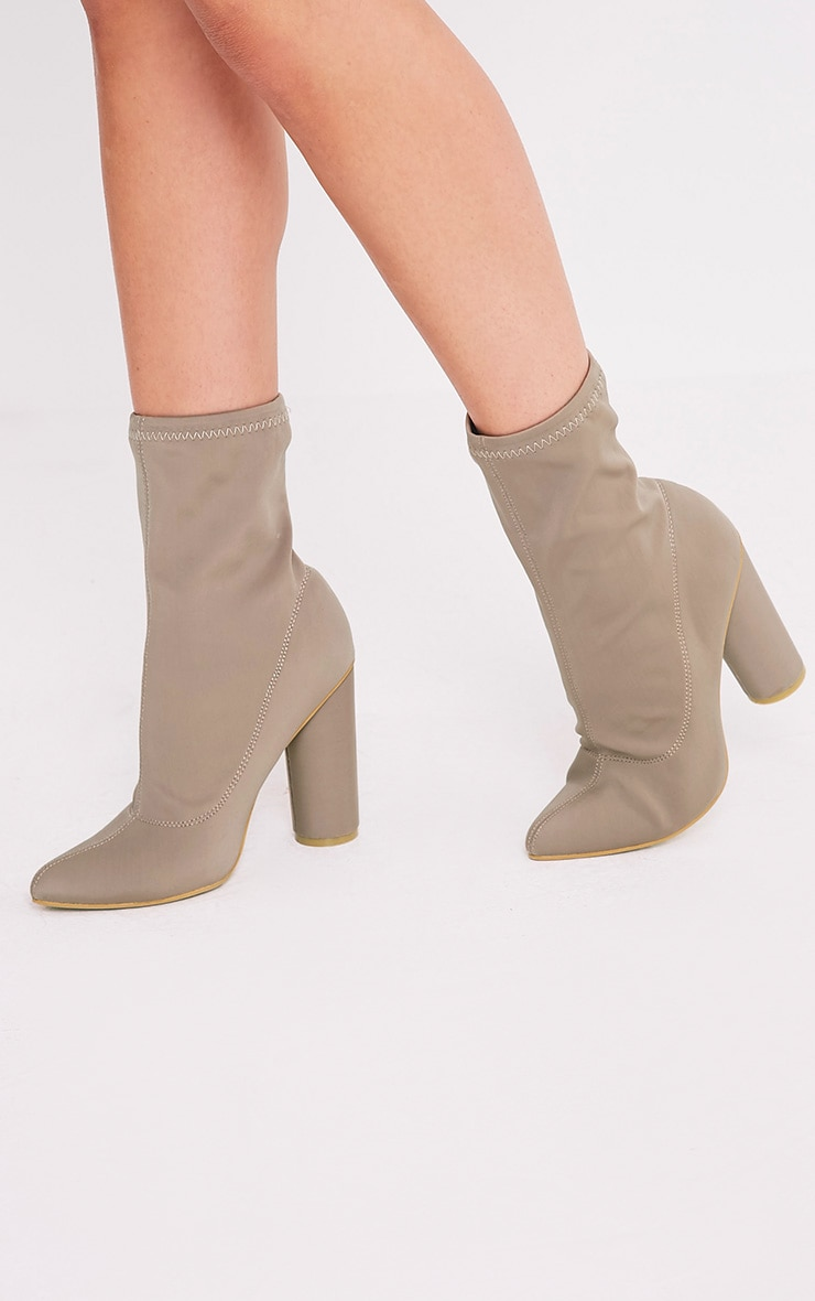 Leanah Mocha Neoprene Pointed Heeled Ankle Boots 1