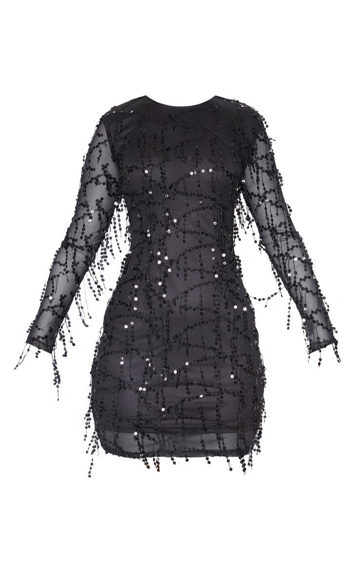 Black Sequin Detail Long Sleeve Mini Dress 3