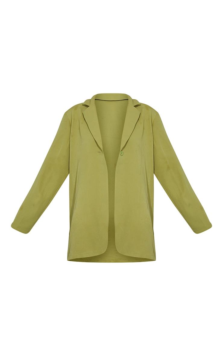 Olive Woven Button Detail Blazer 5