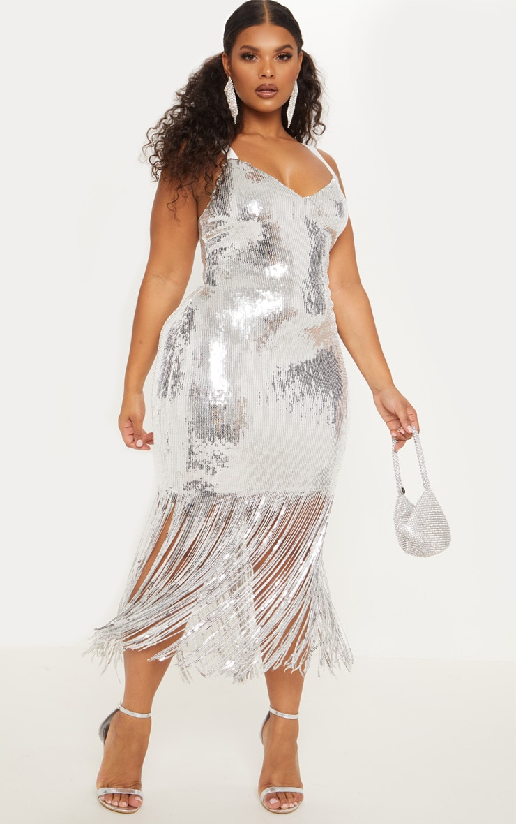 Plus Silver Sequin Tassel Hem Midi Dress 2