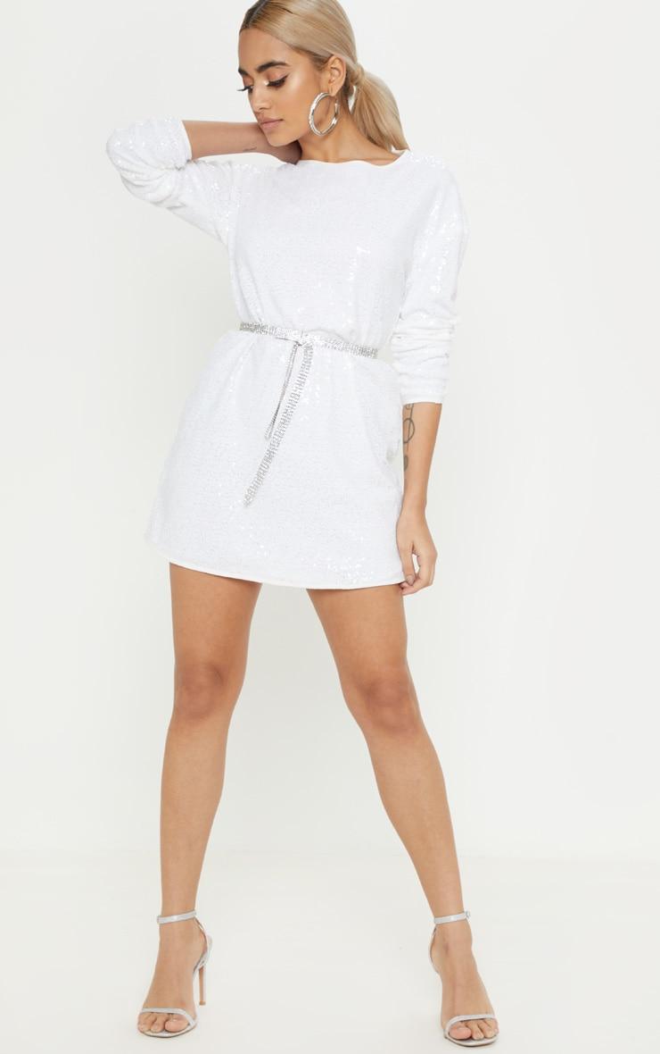 Petite White Sequin Long Sleeve Shift Dress 4