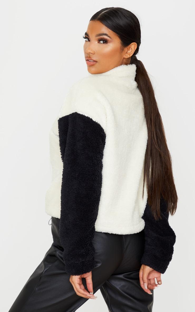 Black Borg Contrast Crop Zip Sweater 2