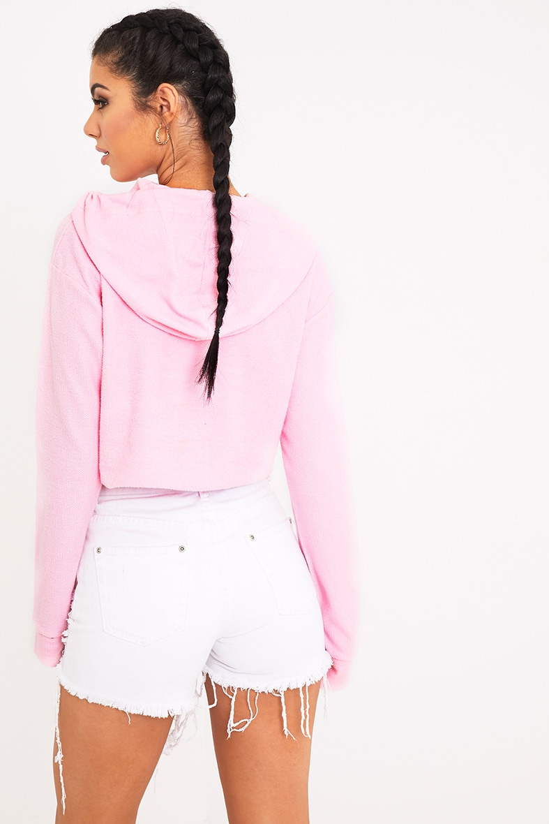Charissa Baby Pink Inside Out Cropped Hoodie 2
